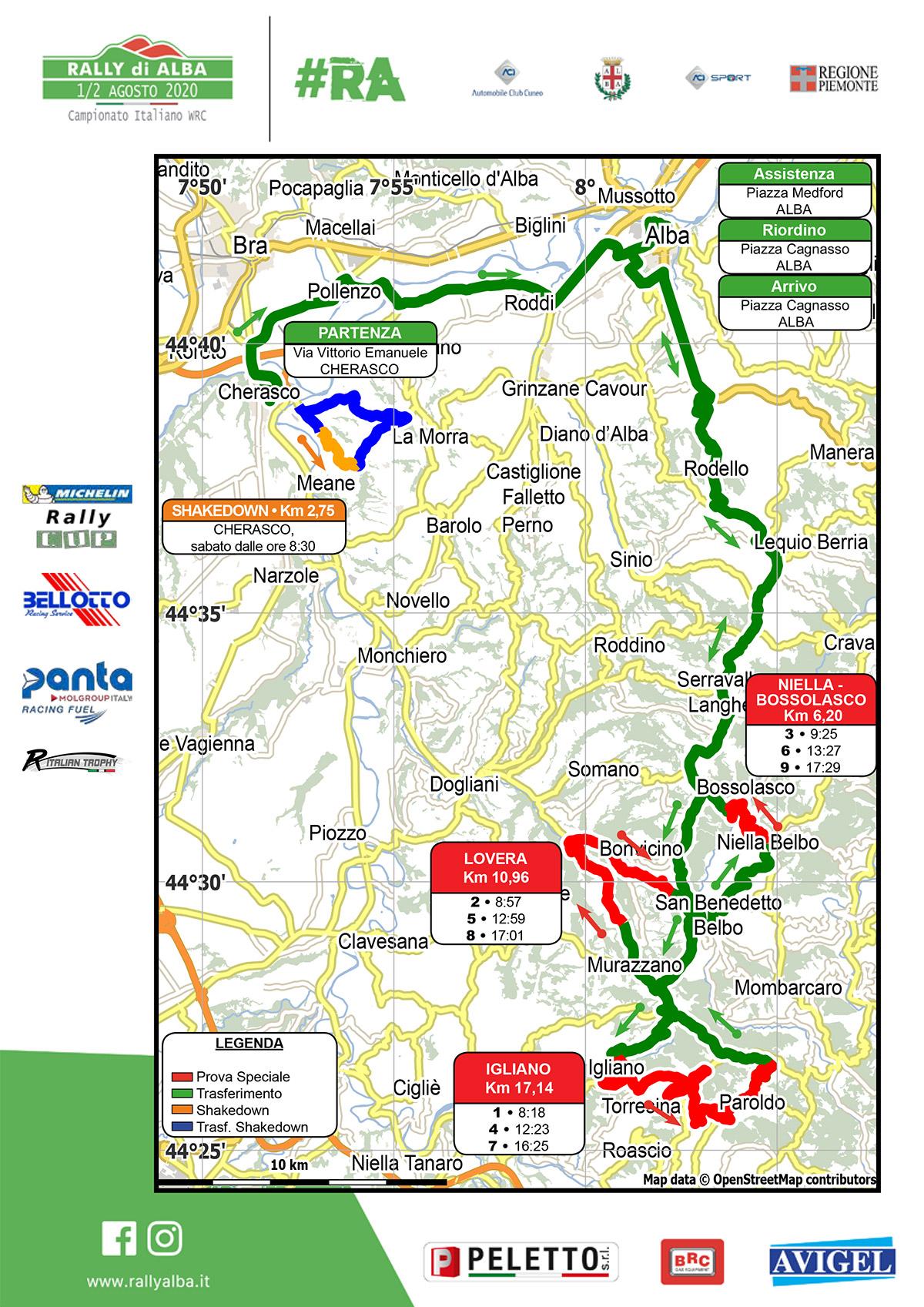 Cartina Rally di Alba 2020